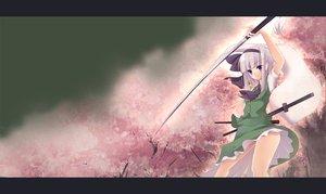 Rating: Safe Score: 44 Tags: cherry_blossoms flowers katana konpaku_youmu myon purple_eyes short_hair skirt sword touhou weapon white_hair User: Tensa