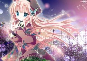 Rating: Safe Score: 85 Tags: aqua_eyes boku_wa_tomodachi_ga_sukunai butterfly flowers kashiwazaki_sena nakamura_beta petals pink_hair scarf school_uniform sky stars User: ガラス