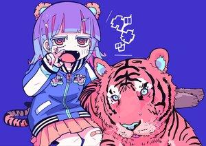 Rating: Safe Score: 50 Tags: animal animal_ears bandaid blue blue_hair fang original red_eyes short_hair skirt teracoot tiger User: otaku_emmy