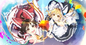 Rating: Safe Score: 47 Tags: 2girls apron blonde_hair bow brown_eyes brown_hair clouds dress hakurei_reimu hat japanese_clothes jill_07km kirisame_marisa long_hair magic miko ribbons sky stars touhou witch witch_hat yellow_eyes User: mattiasc02