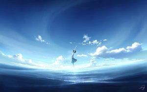 Rating: Safe Score: 61 Tags: clouds kijineko original polychromatic short_hair signed skirt sky water User: RyuZU