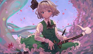 Rating: Safe Score: 59 Tags: blue_eyes flowers gray_hair headband katana konpaku_youmu maachi_(fsam4547) myon petals short_hair skirt sword touhou weapon User: RyuZU