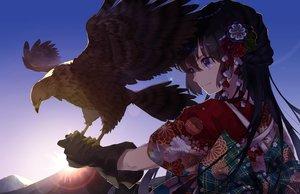 Rating: Safe Score: 67 Tags: animal bird blue_eyes braids brown_hair close flowers gloves japanese_clothes kimono kusaka_kou long_hair original sky sunset User: RyuZU