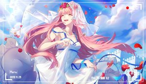 Rating: Safe Score: 122 Tags: camera clouds darling_in_the_franxx dress headdress jpeg_artifacts long_hair necklace nhan petals pink_hair sky wedding_attire zero_two User: BattlequeenYume