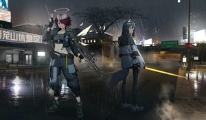 Rating: Safe Score: 40 Tags: 2girls aliasing animal_ears arknights black_hair building city cross exusiai_(arknights) gun halo hamachi_hazuki hoodie long_hair navel necklace night pantyhose purple_hair rain red_eyes reflection short_hair sword tail texas_(arknights) tree water weapon wet wings User: Arsy