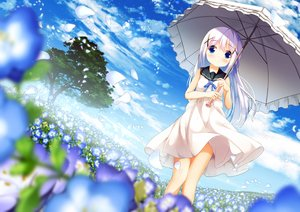 Rating: Safe Score: 54 Tags: blue_eyes blue_hair blush chinomaron dress gochuumon_wa_usagi_desu_ka? kafuu_chino loli long_hair umbrella User: あかり