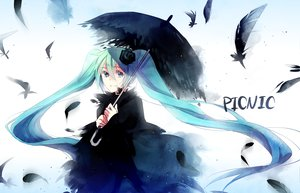 Rating: Safe Score: 71 Tags: dress feathers flowers hatsune_miku rose umbrella usami vocaloid User: MissBMoon