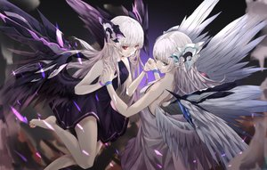 Rating: Safe Score: 81 Tags: 2girls aliasing barefoot dress green_eyes long_hair neon_(pixiv31150749) original pointed_ears red_eyes twins white_hair wings User: BattlequeenYume