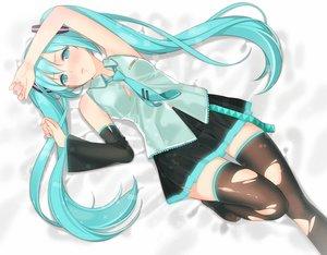Rating: Safe Score: 126 Tags: ama_mitsuki aqua_eyes aqua_hair blush hatsune_miku skirt thighhighs torn_clothes twintails vocaloid white User: Flandre93