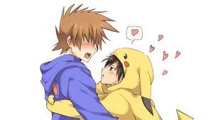 Rating: Safe Score: 42 Tags: all_male blush cosplay hoodie male maruki_(punchiki) ookido_green pokemon red_(pokemon) shounen_ai vector User: Dummy
