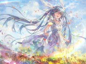 Rating: Safe Score: 64 Tags: aqua_eyes aqua_hair avamone clouds dress flowers hatsune_miku long_hair petals twintails vocaloid User: luckyluna