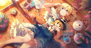 Rating: Safe Score: 59 Tags: alice_margatroid blonde_hair blue_eyes book butterfly cake cape dress drink elise_(piclic) flowers food fruit headband paper ribbons rose short_hair strawberry touhou User: Fepple