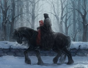 Rating: Safe Score: 102 Tags: animal aureolin31 braids dark forest hoodie horse long_hair male original signed snow tree twintails winter User: mattiasc02