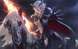 Rating: Safe Score: 107 Tags: animal armor arturia_pendragon arturia_pendragon_alter blonde_hair breasts cape dark fate/grand_order fate_(series) fire gloves horse magic navel night raikoart rain short_hair sideboob sky spear water watermark weapon yellow_eyes User: BattlequeenYume