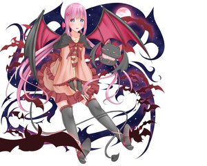 Rating: Safe Score: 46 Tags: animal aqua_eyes bat blush dress fang long_hair original pink_hair tagme_(artist) thighhighs twintails wings User: RyuZU