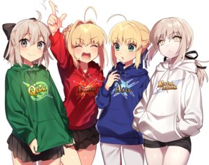 Rating: Safe Score: 90 Tags: blonde_hair fate/grand_order fate_(series) gray_eyes green_eyes hoodie ichinose_yukino long_hair ponytail ribbons saber saber_alter saber_extra sakura_saber short_hair shorts skirt yellow_eyes User: otaku_emmy