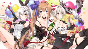 Rating: Safe Score: 68 Tags: animal anthropomorphism ballista_(girls_frontline) bird bow bra breasts brown_hair cleavage dress drink fal_(girls_frontline) five_seven_(girls_frontline) garter girls_frontline gun juna long_hair ponytail short_hair skirt sunglasses thighhighs underwear weapon white_hair wink yellow_eyes User: RyuZU
