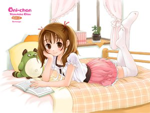 Rating: Safe Score: 20 Tags: bed blush brown_eyes brown_hair loli thighhighs twintails watermark User: Oyashiro-sama