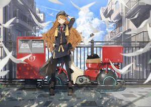 Rating: Safe Score: 41 Tags: animal bird boots brown_hair building cat city clouds gloves hat long_hair motorcycle original pantyhose shade skirt sky somehira_katsu tie uniform yellow_eyes User: Dreista