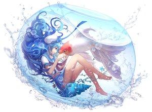 Rating: Safe Score: 106 Tags: animal aoiakamaou barefoot blue_eyes blue_hair bubbles fish long_hair original seifuku skirt underwater water User: Flandre93