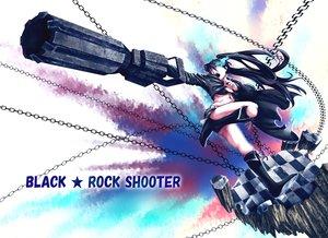 Rating: Safe Score: 72 Tags: bikini_top black_hair black_rock_shooter blue_eyes boots chain gun kuroi_mato long_hair munakata shorts twintails weapon User: FormX