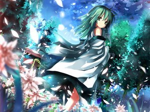 Rating: Safe Score: 102 Tags: clouds flowers forest green_eyes green_hair japanese_clothes kochiya_sanae long_hair miko petals shino_(eefy) sky torii touhou tree User: w7382001