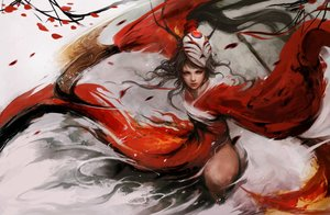 Rating: Safe Score: 209 Tags: akali black_hair horns japanese_clothes league_of_legends mask muju petals ponytail realistic weapon User: Flandre93