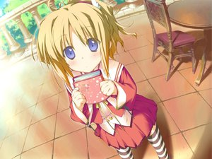 Rating: Safe Score: 21 Tags: blonde_hair blue_eyes blush book favorite game_cg happy_margaret! kokonoka minahase_karin school_uniform thighhighs User: 秀悟