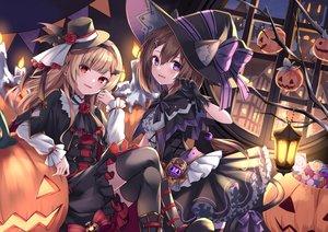 Rating: Safe Score: 43 Tags: 2girls halloween hat kure~pu original pumpkin thighhighs witch_hat User: BattlequeenYume