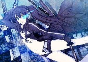 Rating: Safe Score: 91 Tags: black_rock_shooter blue_eyes headphones katana kuroi_mato long_hair sword weapon User: HawthorneKitty
