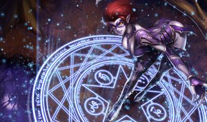 Rating: Safe Score: 207 Tags: boots breasts cleavage collar evelynn gloves league_of_legends magic mask pointed_ears red_hair short_hair tagme_(artist) tie yellow_eyes User: Dragoonxxx