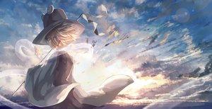 Rating: Safe Score: 51 Tags: blonde_hair clouds hat moriya_suwako short_hair sky tagme_(artist) touhou User: RyuZU