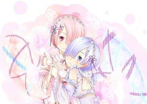 Rating: Safe Score: 62 Tags: asa_hiro blue_eyes blue_hair blush dress pink_eyes pink_hair polychromatic ram_(re:zero) rem_(re:zero) re:zero_kara_hajimeru_isekai_seikatsu short_hair twins User: RyuZU