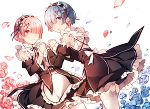 Rating: Safe Score: 115 Tags: 2girls aqua_eyes aqua_hair flowers headdress izumi369 maid pink_eyes pink_hair ram_(re:zero) rem_(re:zero) re:zero_kara_hajimeru_isekai_seikatsu short_hair twins User: otaku_emmy