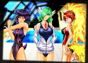Rating: Safe Score: 88 Tags: animal_ears anthropomorphism breasts camera cleavage cosplay fire gardevoir green_hair haunter iforher pokemon pool purple_hair rapidash red_eyes red_hair short_hair swimsuit tail water User: Septentrion_P