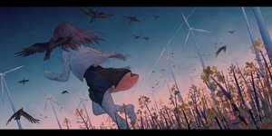 Rating: Safe Score: 70 Tags: animal barefoot bird brown_hair dress flowers ji_dao_ji long_hair original sky windmill User: RyuZU