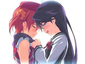 Rating: Safe Score: 157 Tags: 2girls black_hair blush isshiki_akane kuroki_rei michairu red_hair tears vividred_operation User: FormX
