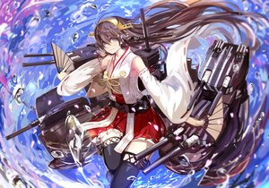 Rating: Safe Score: 104 Tags: anthropomorphism brown_hair fan haruna_(kancolle) japanese_clothes kantai_collection miko saberiii water User: FormX