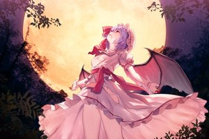 Rating: Safe Score: 66 Tags: blood breasts hat moon night panties purple_hair red_eyes remilia_scarlet short_hair stars torn_clothes touhou underboob underwear vampire wings wristwear yasuyuki User: BattlequeenYume