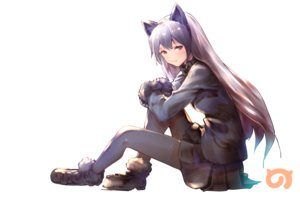 Rating: Safe Score: 40 Tags: animal_ears anthropomorphism brown_eyes foxgirl gray_hair kemono_friends logo long_hair pantyhose silver_fox_(kemono_friends) skirt usapenpen2019 white User: RyuZU