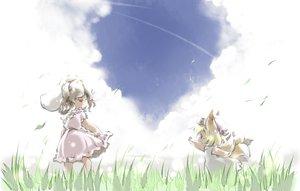 Rating: Safe Score: 28 Tags: 2girls animal_ears bunny_ears bunnygirl clouds foxgirl ikuta_takanon inaba_tewi loli multiple_tails sky tail touhou yakumo_ran User: SciFi
