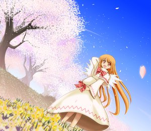 Rating: Safe Score: 17 Tags: cherry_blossoms dress fairy flowers hat lily_white long_hair orange_hair red_eyes ribbons sky touhou User: Oyashiro-sama