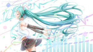 Rating: Safe Score: 26 Tags: aqua_eyes aqua_hair denfunsan hatsune_miku headphones thighhighs twintails vocaloid white User: gnarf1975
