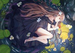 Rating: Safe Score: 88 Tags: brown_eyes brown_hair dress flowers long_hair mobu_(wddtfy61) original water User: BattlequeenYume