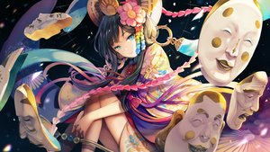Rating: Safe Score: 72 Tags: aqua_eyes black_hair bow japanese_clothes long_hair onmyouji petals sibyl User: RyuZU
