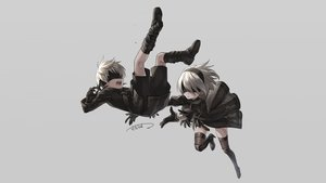 Rating: Safe Score: 77 Tags: blindfold boots dress gloves gray male nier nier:_automata sacanahen short_hair shorts signed stockings thighhighs white_hair yorha_unit_no._2_type_b yorha_unit_no._9_type_s User: Hakha