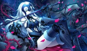 Rating: Safe Score: 294 Tags: armor fate/grand_order fate_(series) gloves headdress jeanne_d'arc_alter jeanne_d'arc_(fate) kousaki_rui long_hair signed sword thighhighs weapon white_hair yellow_eyes User: reyaes