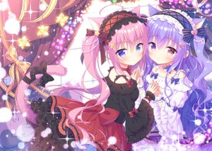 Rating: Safe Score: 106 Tags: 2girls animal_ears bicolored_eyes bow catgirl dress headdress kamishiro_piyo lolita_fashion long_hair original pink_hair purple_hair tail User: 蕾咪