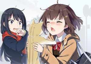 Rating: Safe Score: 63 Tags: 2girls animal black_eyes black_hair blush bow brown_hair cat gochou_(comedia80) long_hair original scarf school_uniform short_hair User: RyuZU