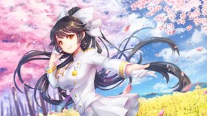 Rating: Safe Score: 52 Tags: anthropomorphism azur_lane black_hair cherry_blossoms clouds gloves long_hair military orange_eyes ponytail skirt sky tagme_(artist) takao_(azur_lane) tree uniform User: BattlequeenYume